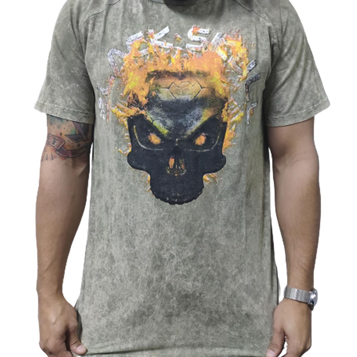 Camiseta Skull Fire Cinza Esverdeado - Black Skull Clothing