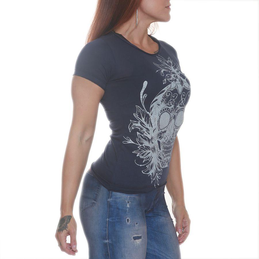 Camiseta Skull Flowers Azul - Black Skull