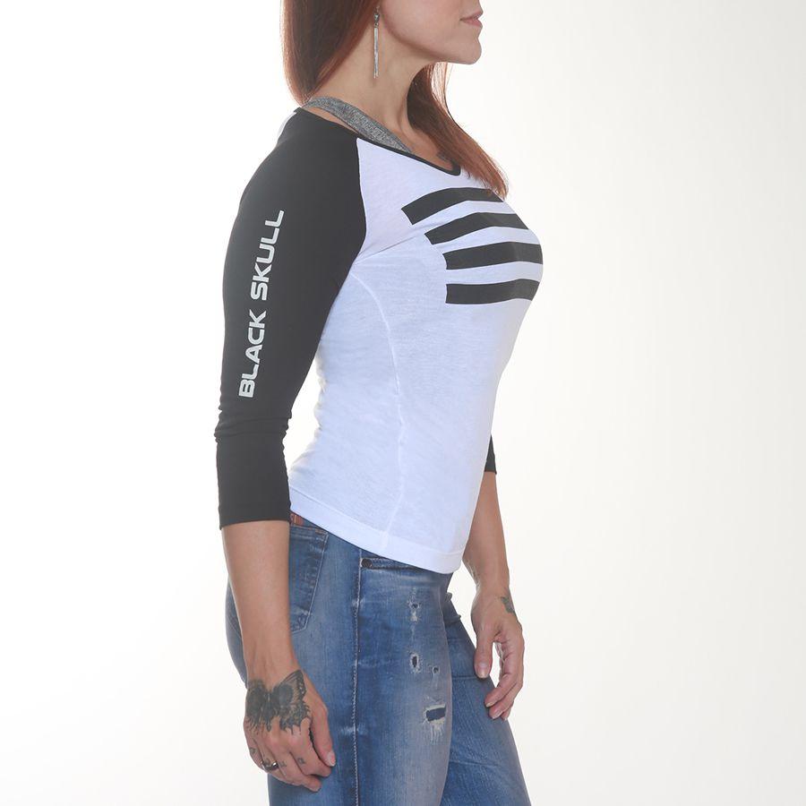 Camiseta Skull Heart Flag Bkf0102 Branco - Black Skull