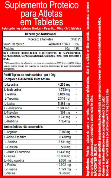 Carnivor Beef Aminos 272 Cápsulas - Musclemeds