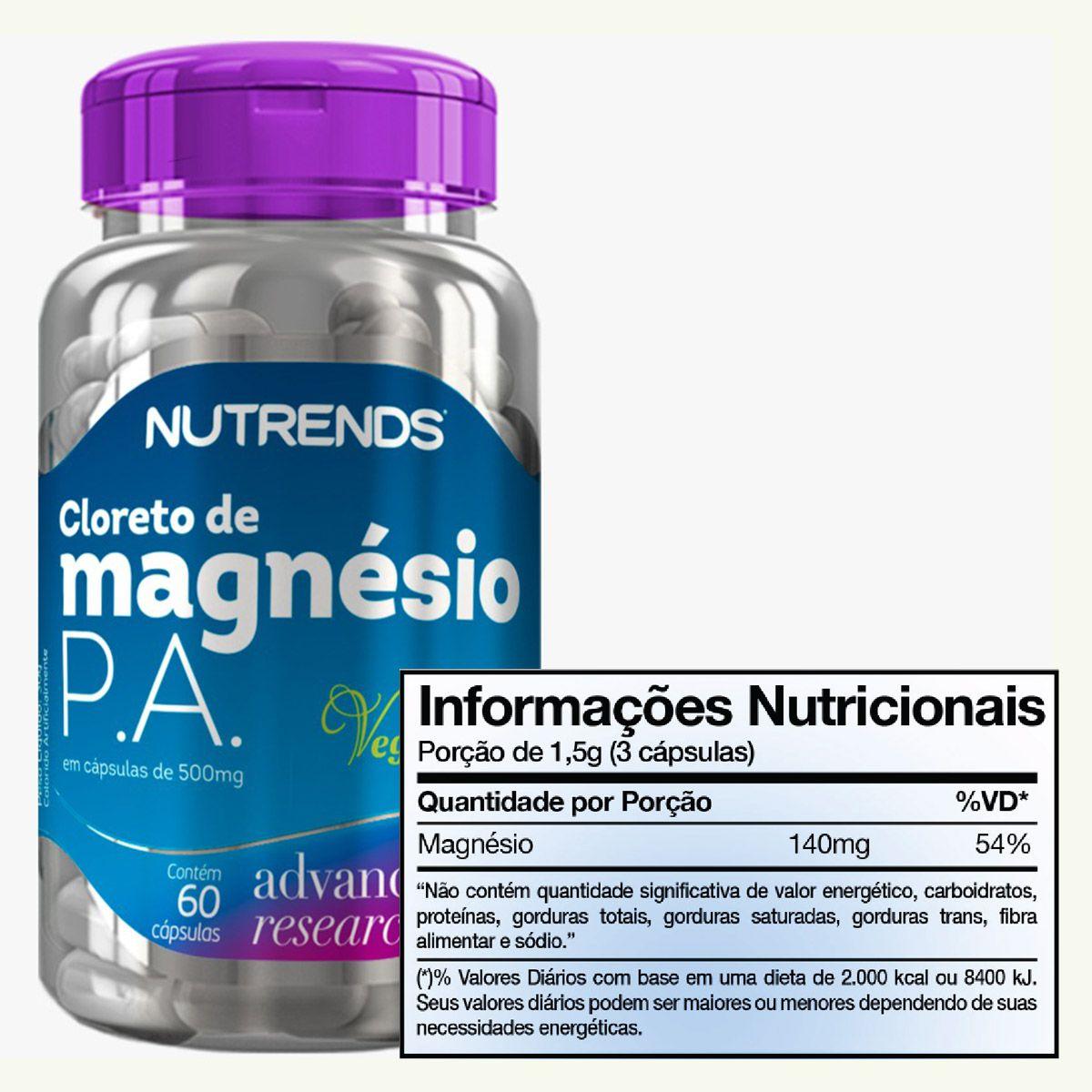 Cloreto de Magnésio P.A 500mg 60 cápsulas - Nutrends