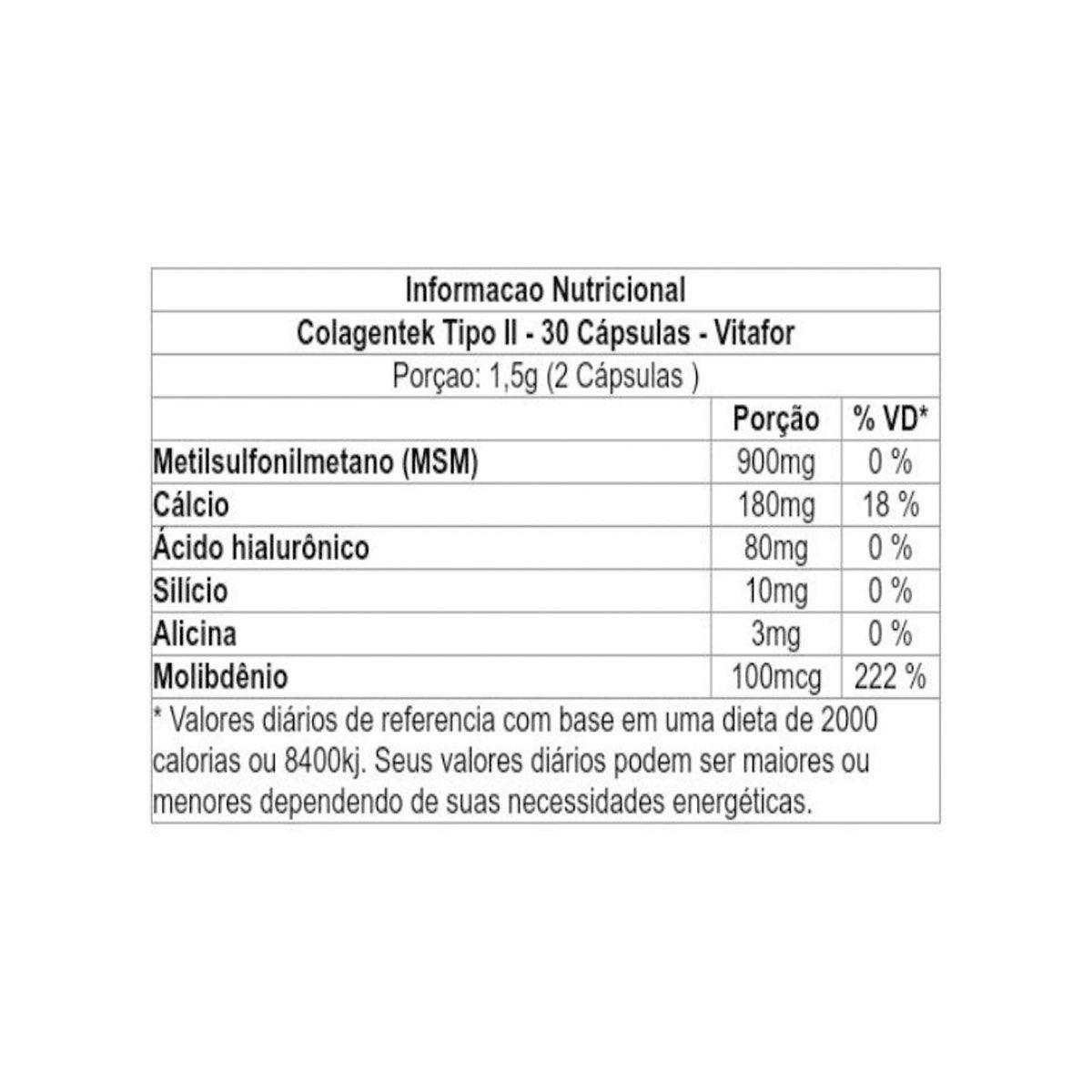 Colagentek II 30 cápsulas - Vitafor