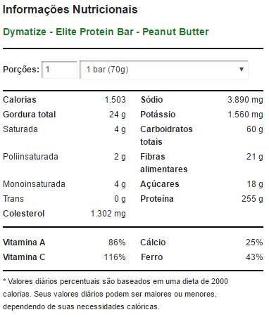 Elite Protein Bar 70 g Peanut Butter - Dymatize