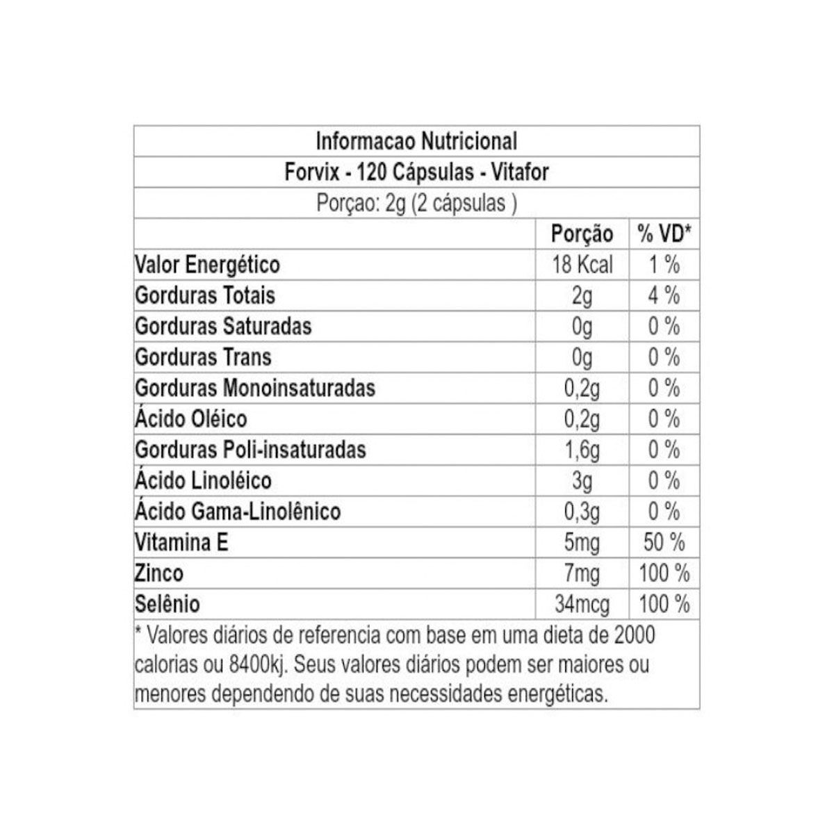 Forvix 120 cápsulas - Vitafor