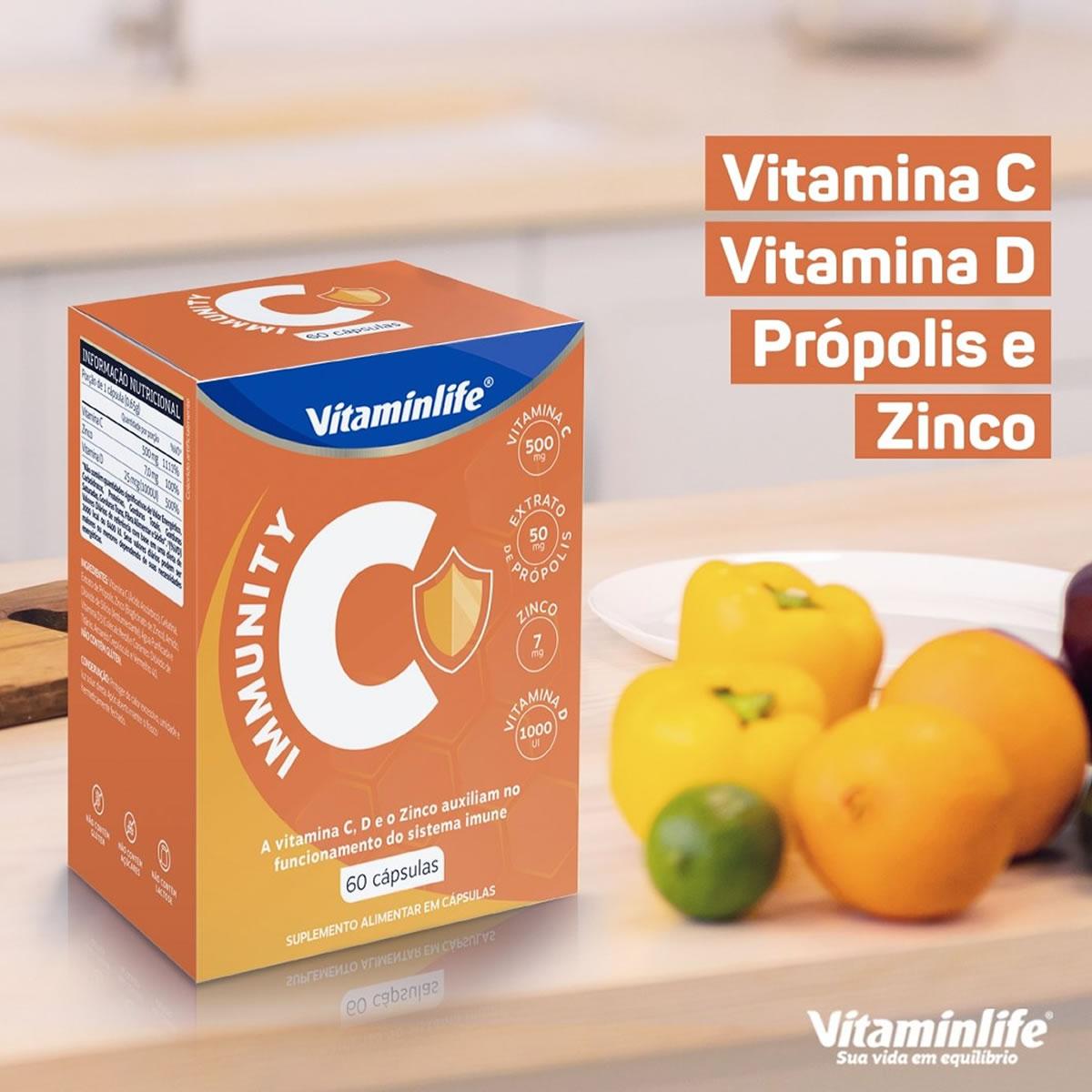 Immunity C Própolis + Vit C+ Zinco + Vit D 60 Cáps - VitaminLife