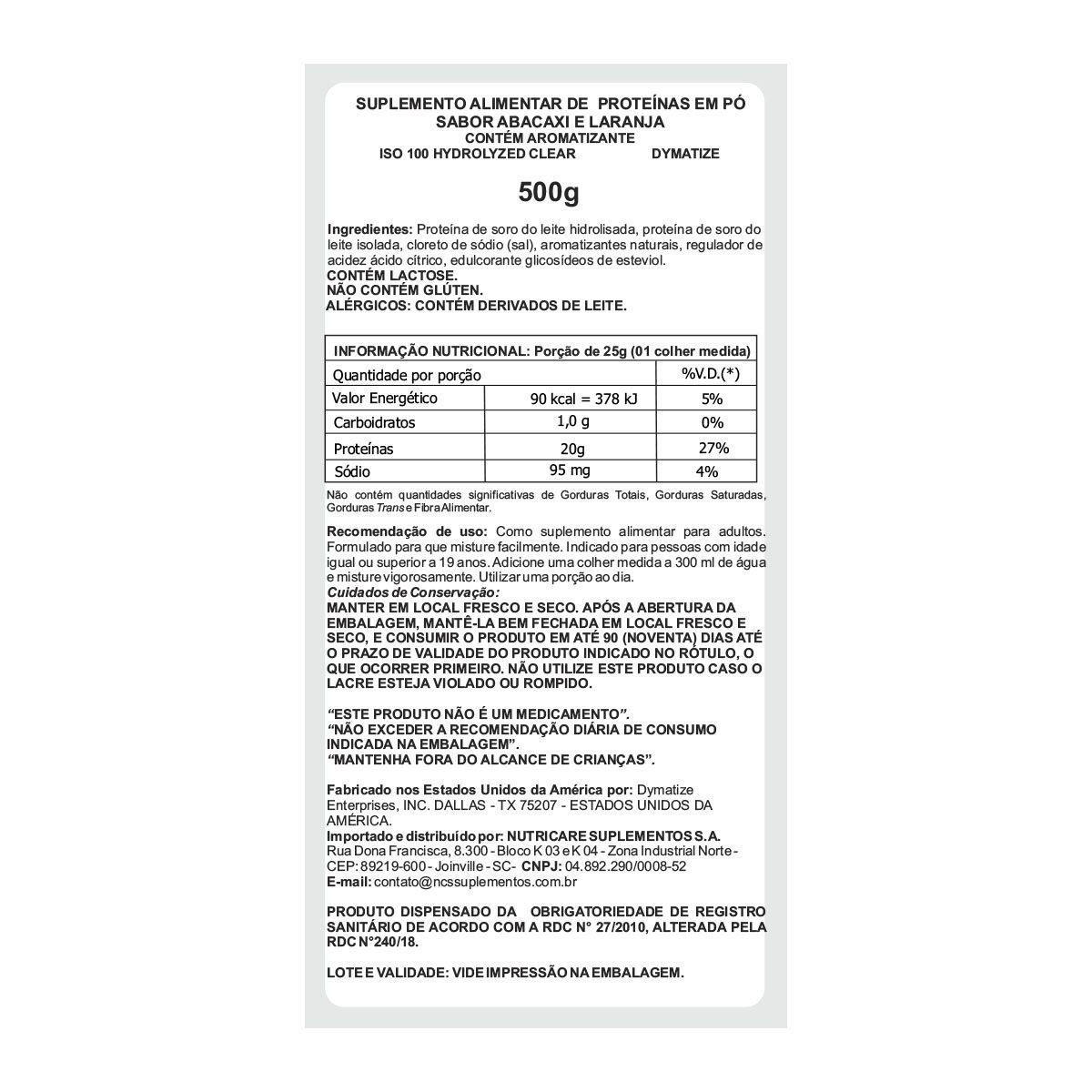 Iso 100 Hydrolized Clear 500g - Dymatize