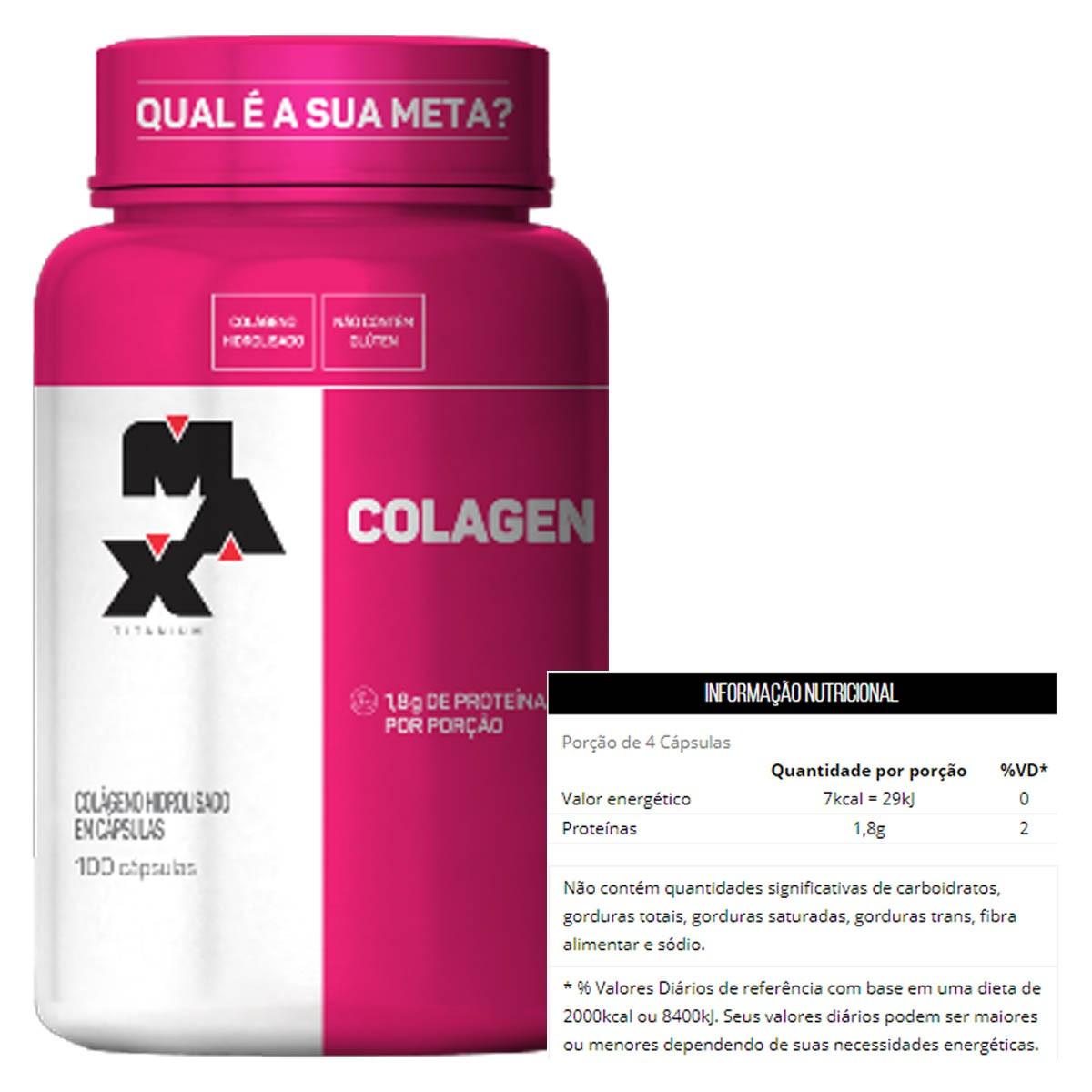 Kit 3 Colágeno 100 Cápsulas - Max Titanium