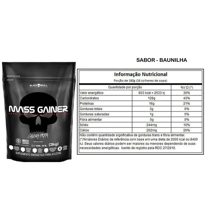 Kit Para Força Mass Gainer 3kg + Creatina + Shaker - Black Skull
