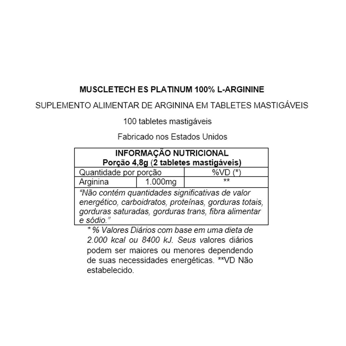 L-Arginina Platinum 100 Tabletes - Muscletech
