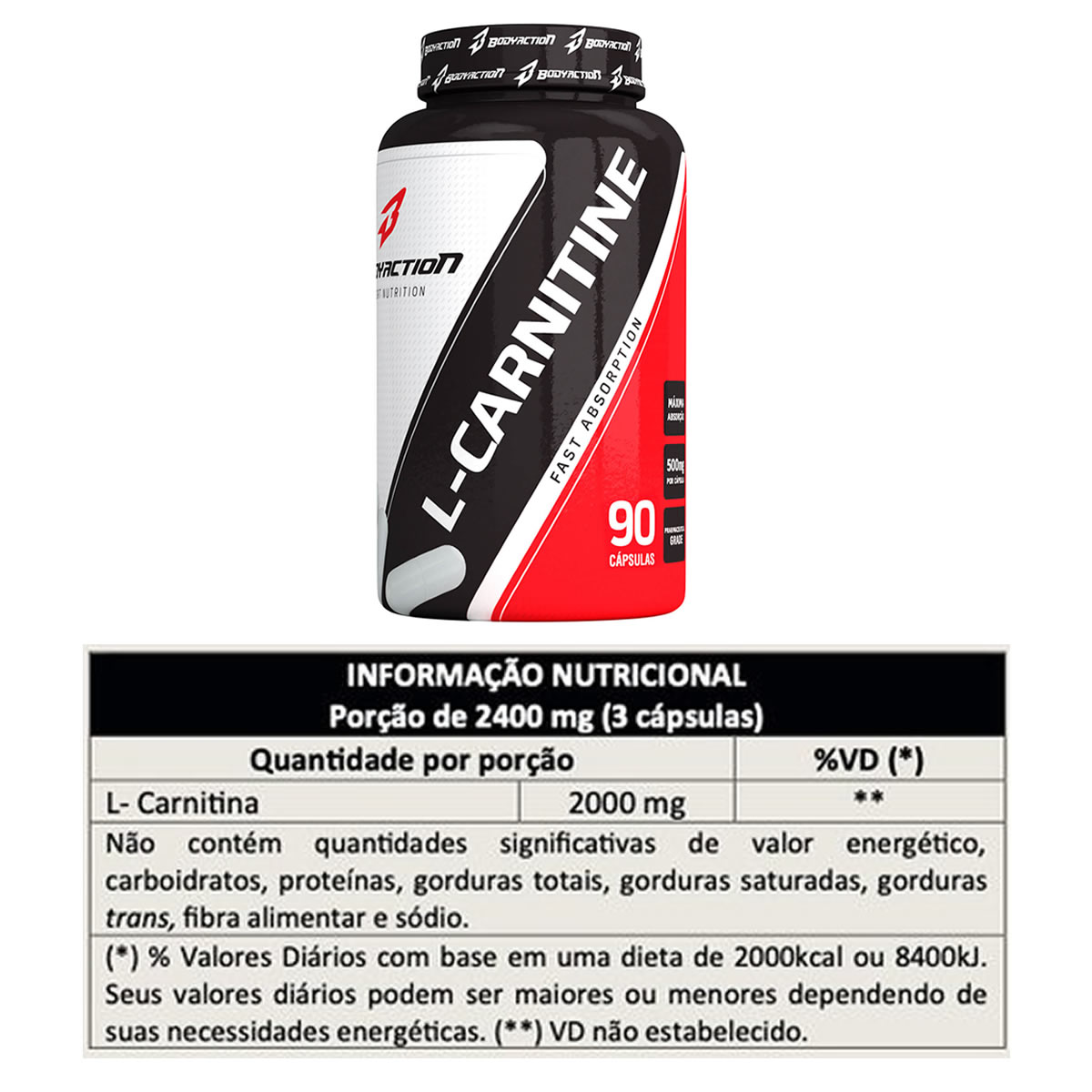 L-Carnitine 90 Cápsulas - Bodyaction