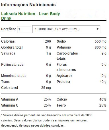 Lean Body 500 ml Cookies 'N Cream - Labrada
