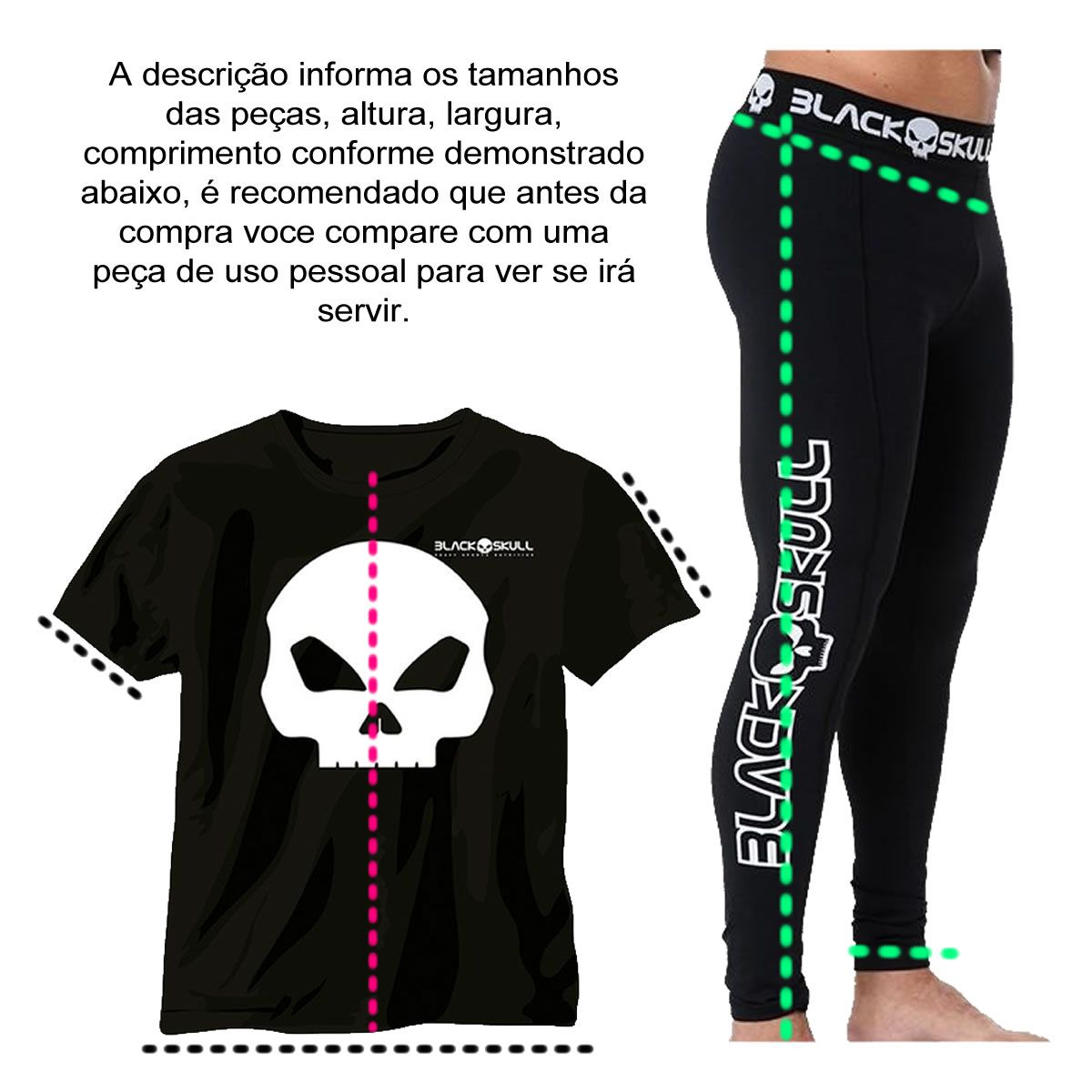 Legging Grind Preto - Black Skull