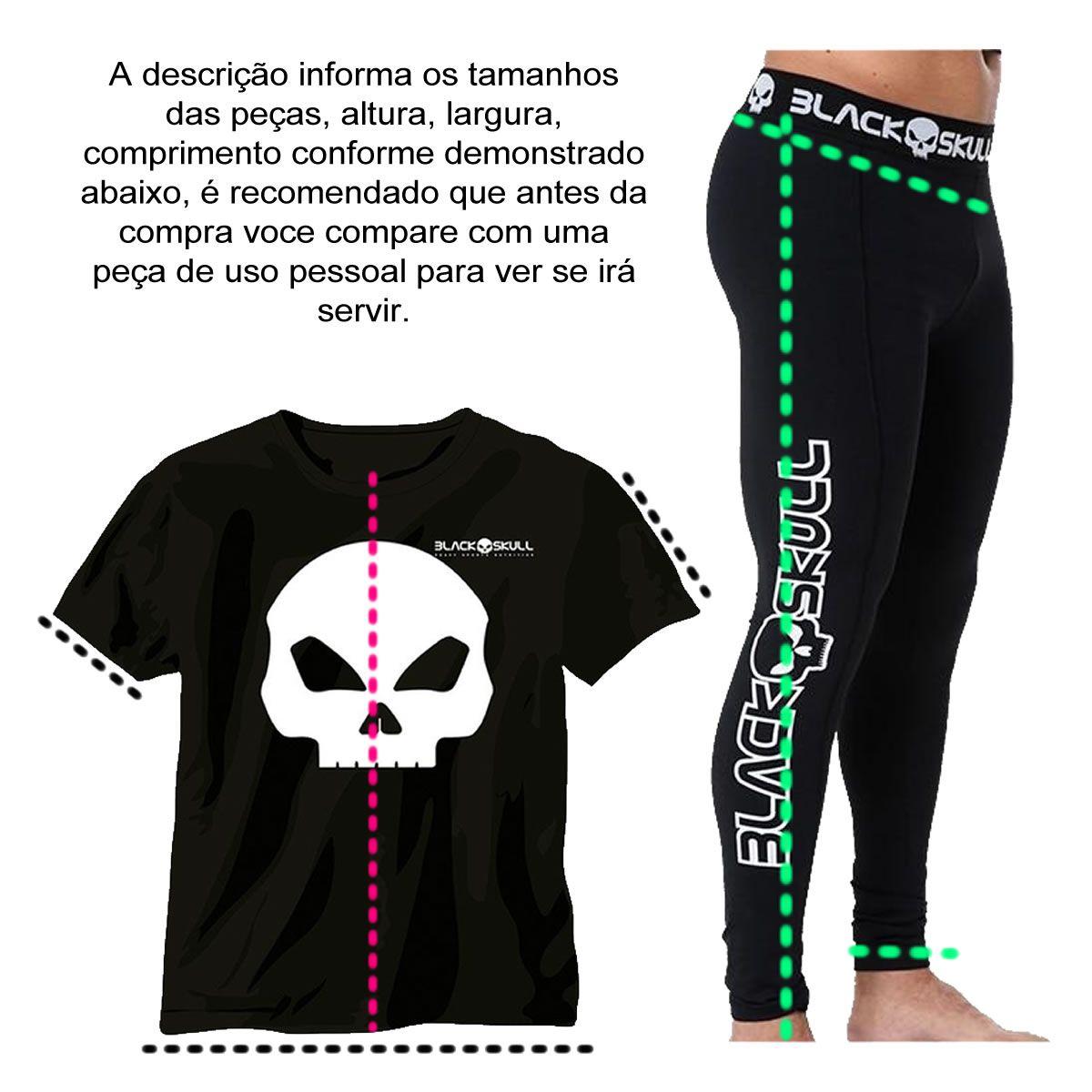 Legging Preta Carol Saraiva Rosas Laterais Preto - Black Skull