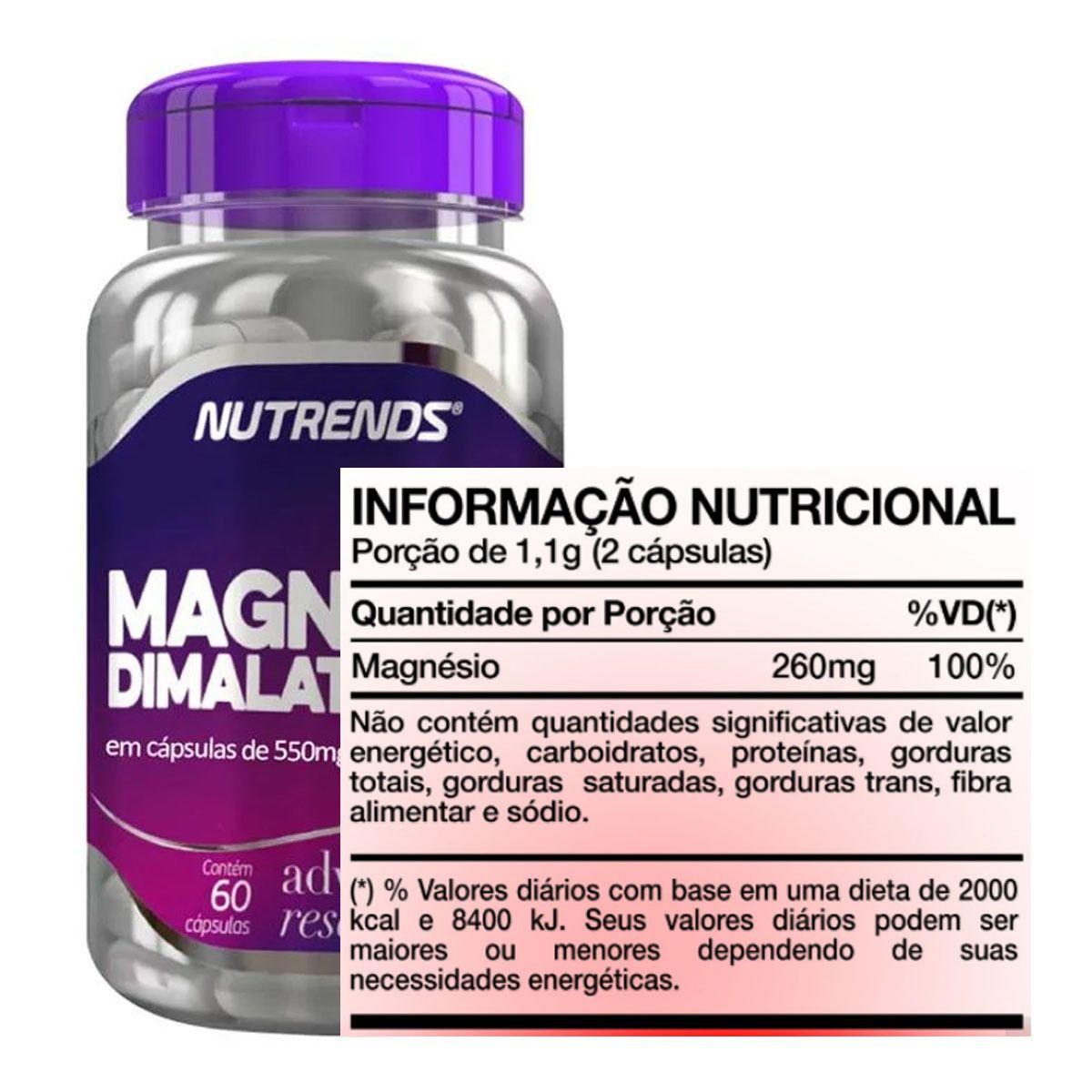 Magnésio Dimalato 550mg 60 Cápsulas - Nutrends