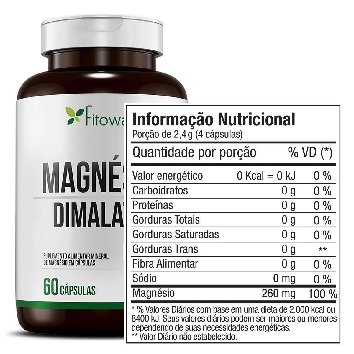 Magnesio Dimalato 60 Cápsulas - Fitoway Clean