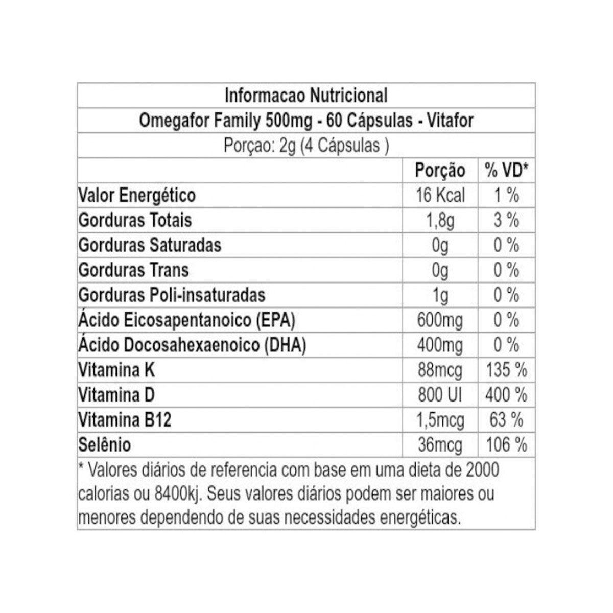 Omegafor Family 60 cápsulas 500mg - Vitafor