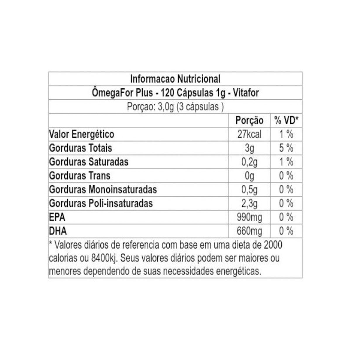 Omegafor Plus 120 Cápsulas - Vitafor