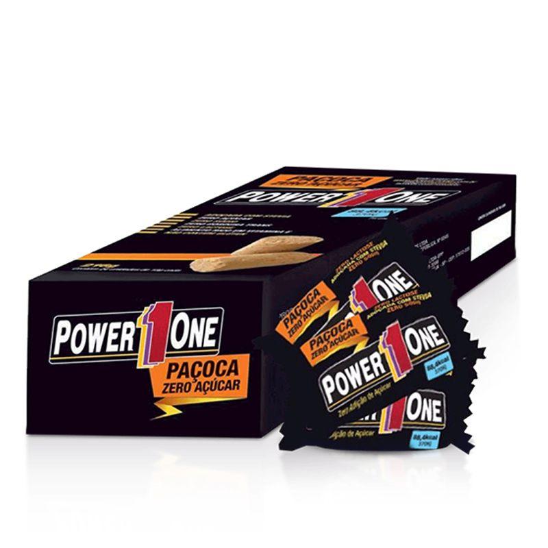 Paçoca Rolha Zero Açúcar - Caixa com 24 Unidades - Power One