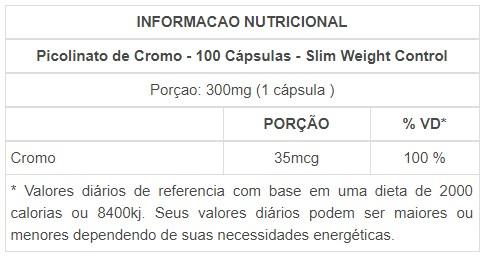 Picolinato de Cromo 100 cápsulas - Slim