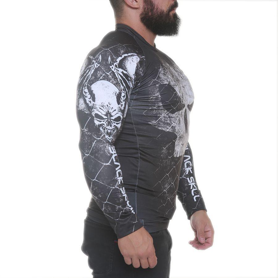 Rashguard Com Manga Cage Skull Preto - Black Skull