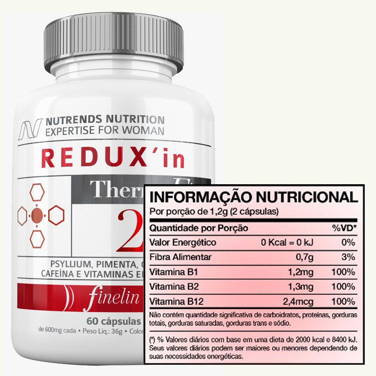 Redux'In 2.0 Termafix 600mg 60 cápsulas - Nutrends