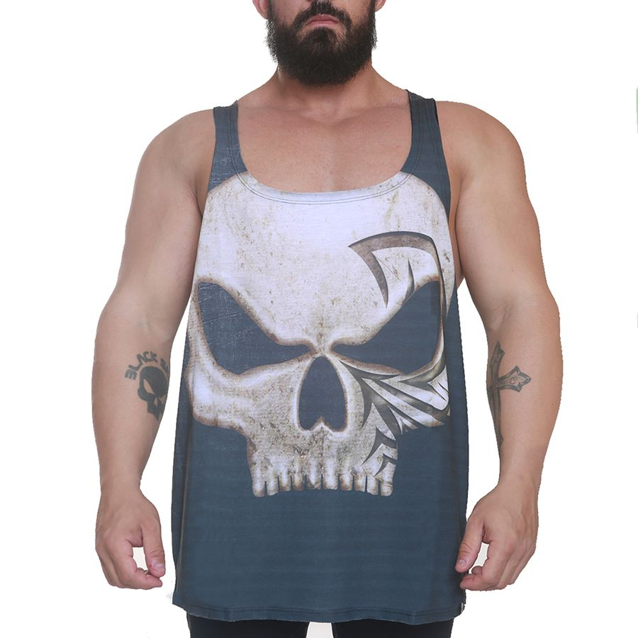 Regata Bodybuilder Lee Priest Cinza Escuro - Black Skull