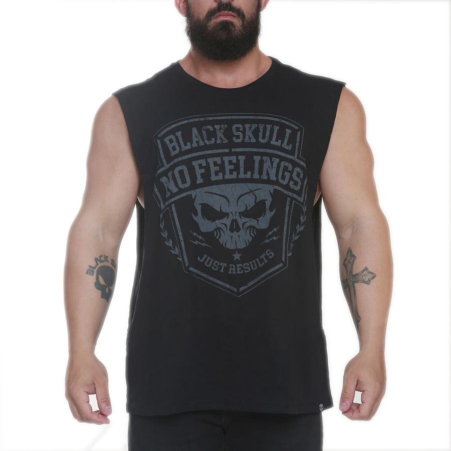 Regata Machao No Feelings Preto - Black Skull