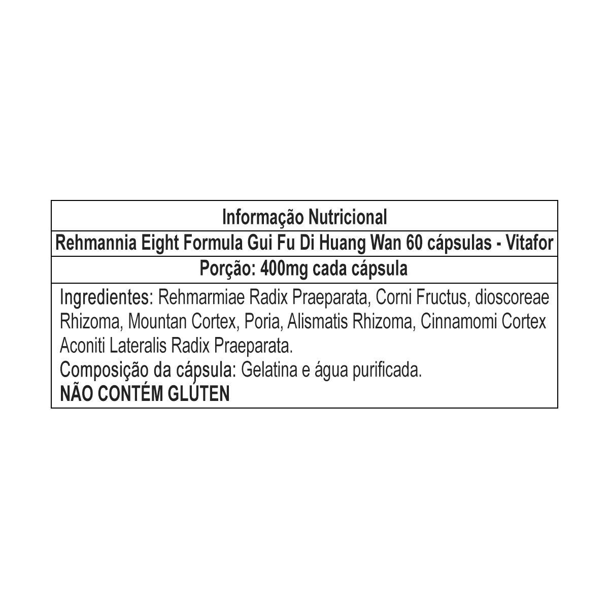 Rehmannia Eight Formula Gui Fu Di Huang Wan 60 cápsulas - Vitafor