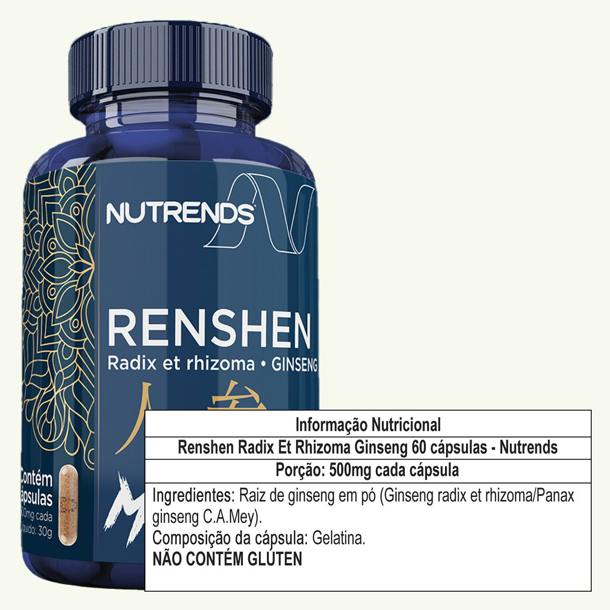 Renshen Radix Et Rhizoma Ginseng 500mg 60 cápsulas - Nutrends
