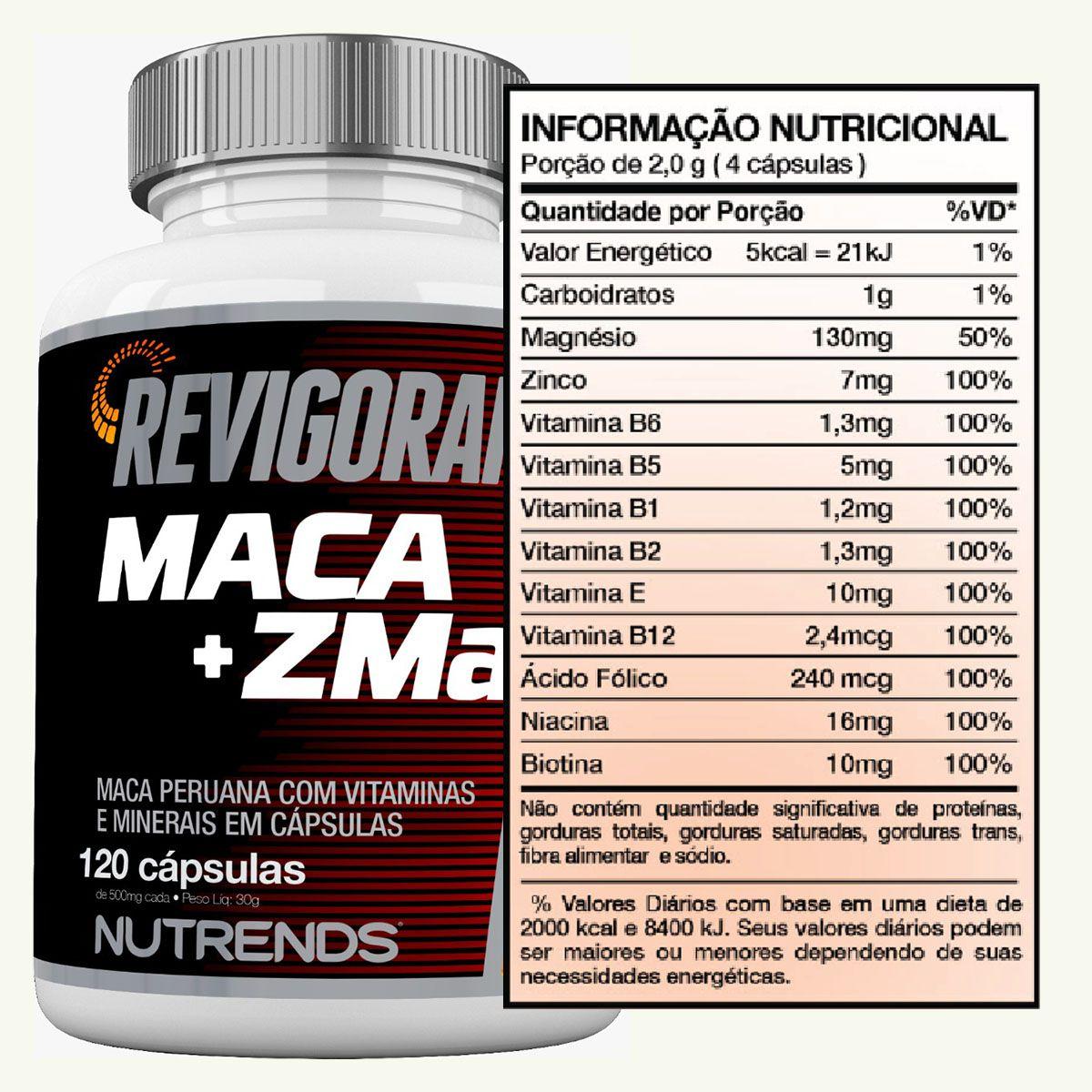 Revigoran Maca+ZMA 500mg 120 cápsulas - Nutrends