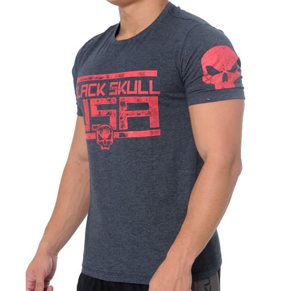 T-Shirt American Flag - Azul - Black Skull