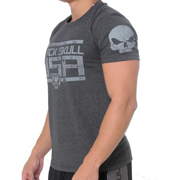 T-Shirt American Flag - Cinza - Black Skull