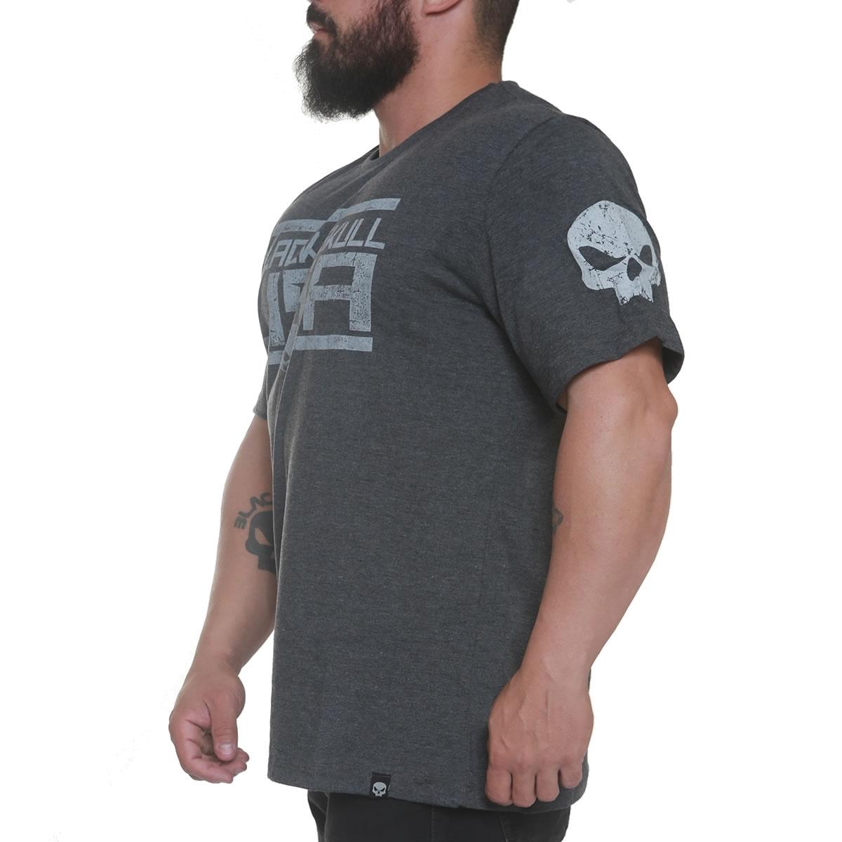 T-Shirt American Flag - Cinza- Black Skull Clothing