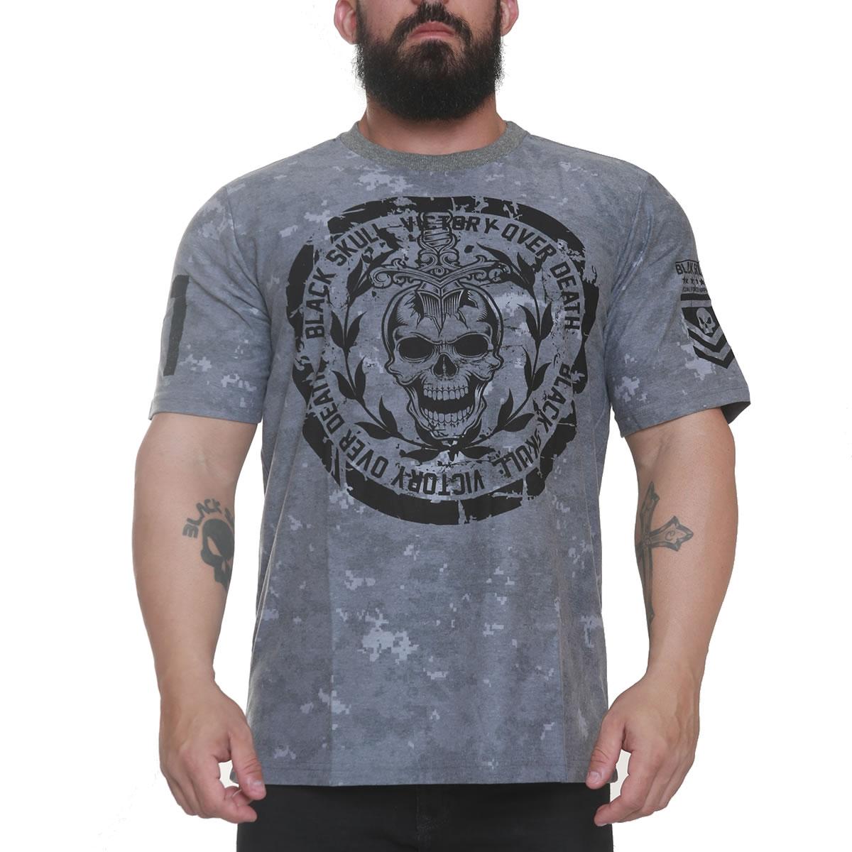 T-shirt Black Skull Victory Cinza - Black Skull Clothing