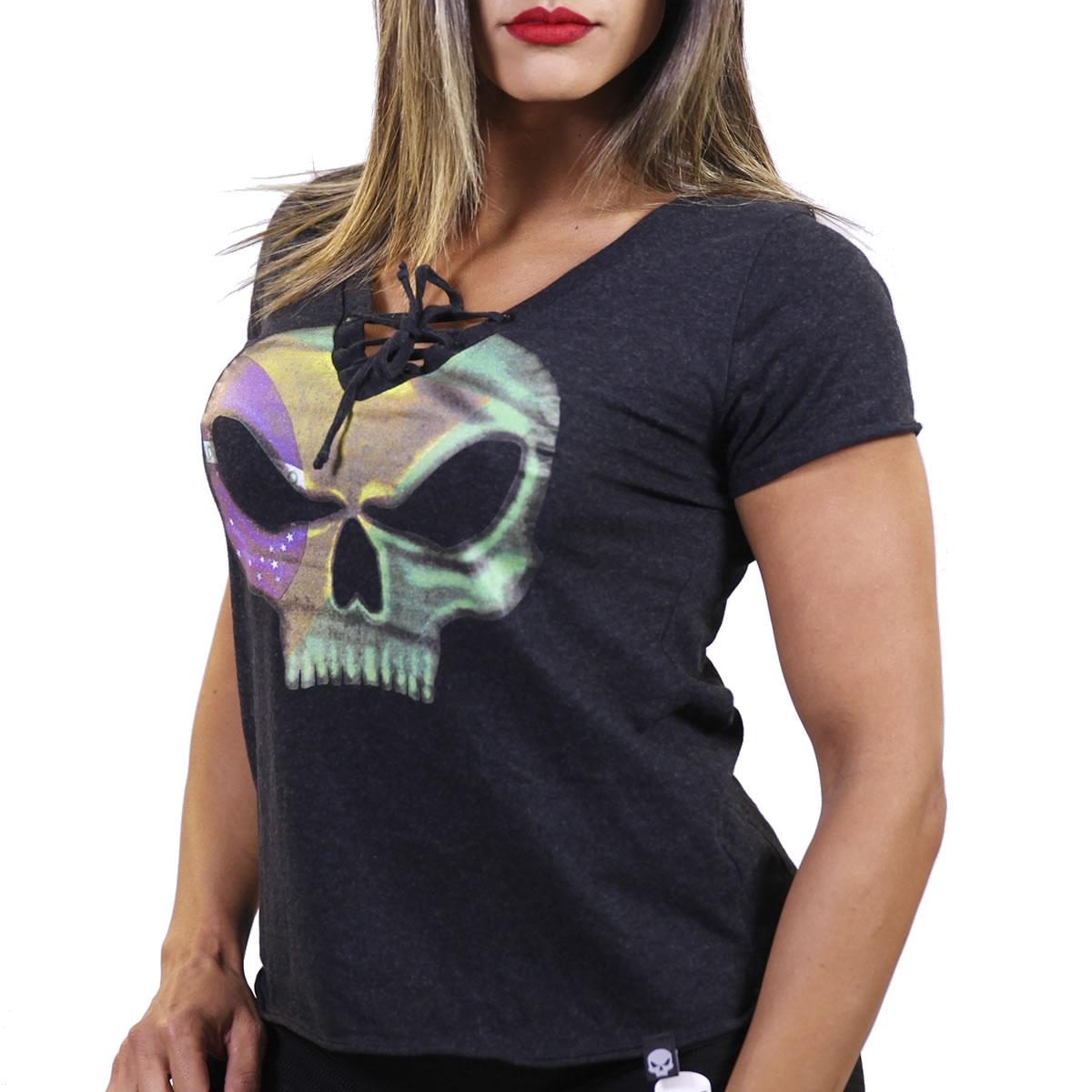 T-shirt Brasil Feminina Preta - Black Skull Clothing