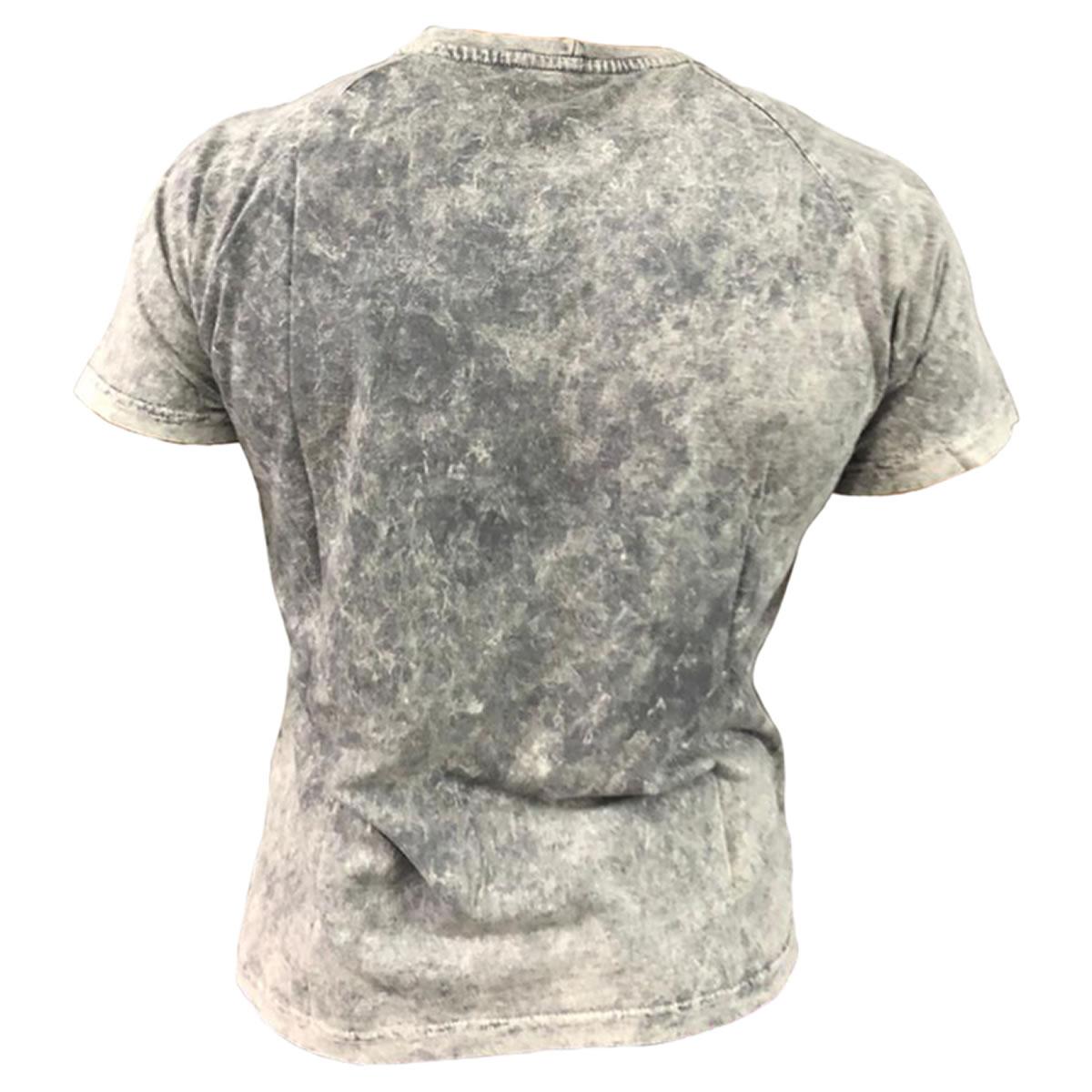 T-Shirt Cinza Flame - Black Skull