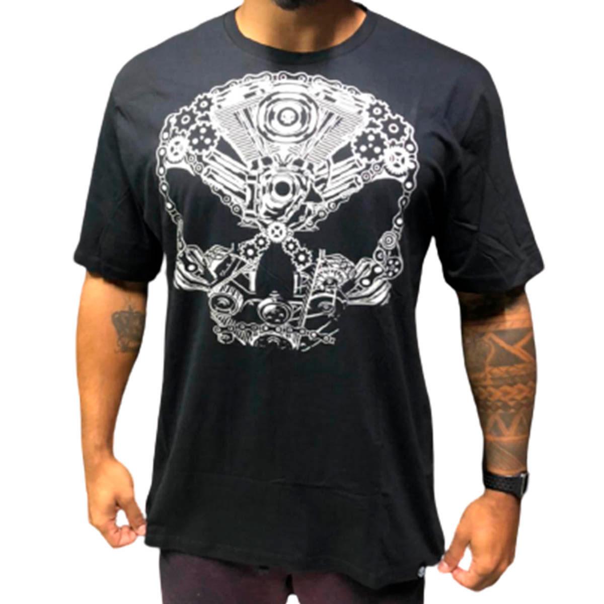 T-shirt Machine Skull Preta - Black Skull Clothing