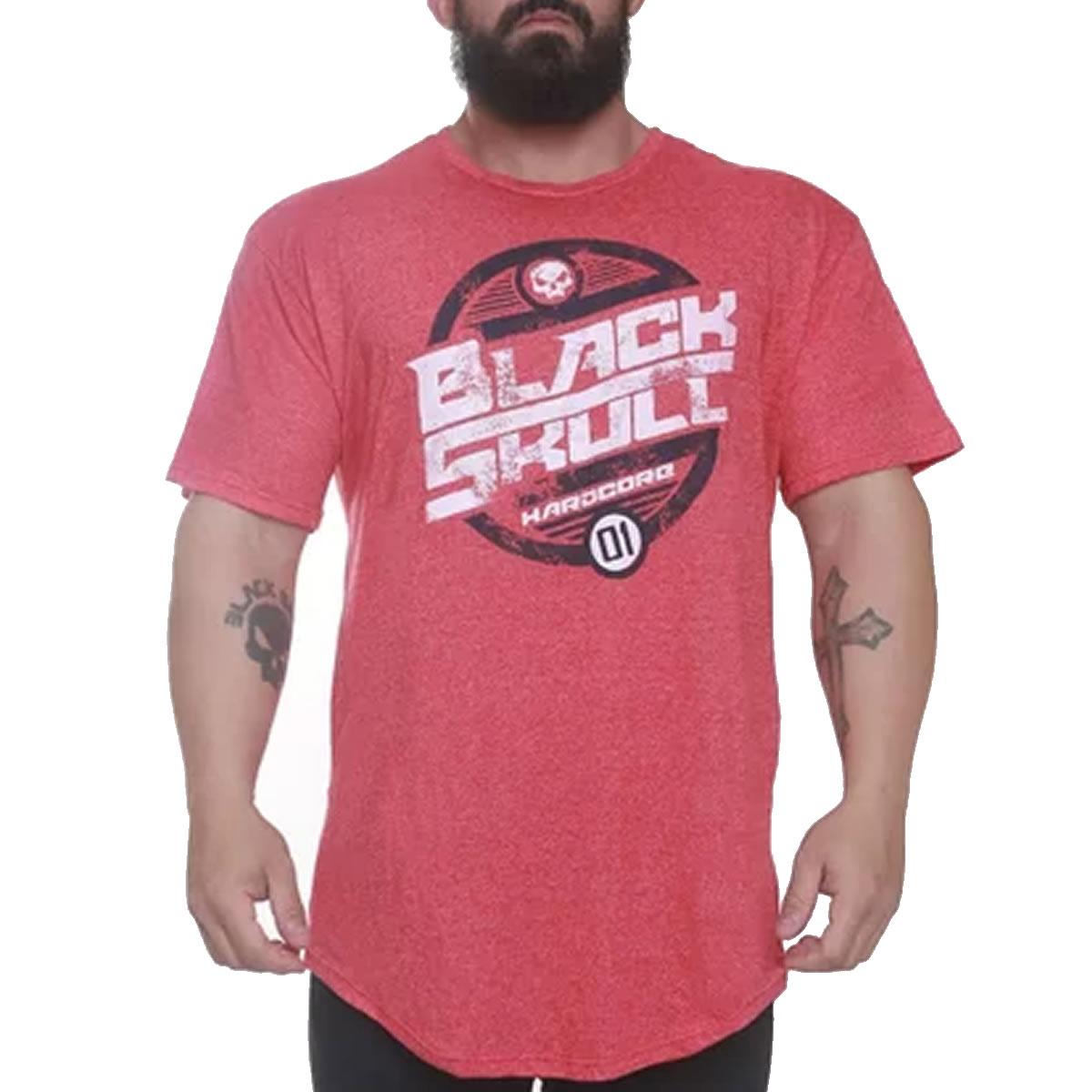 T-Shirt Vermelho Motor - Black Skull