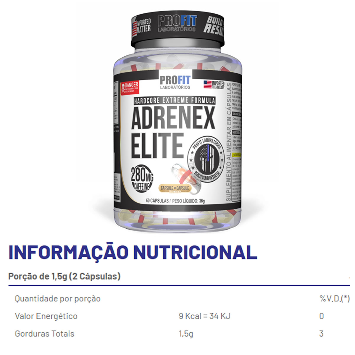 Termogênico Adrenex Elite 60 Cáps - Profit