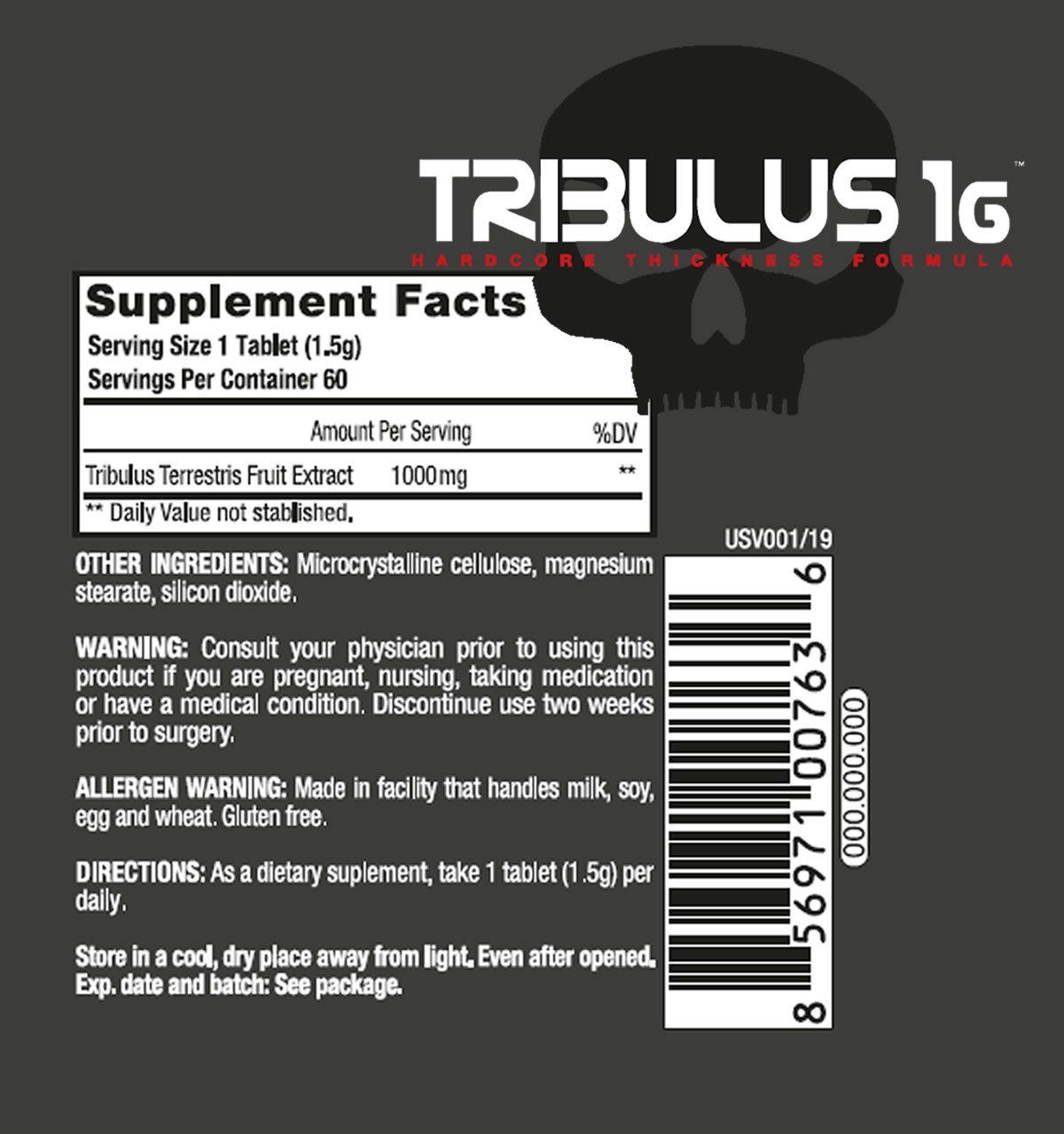 Tribulus Terrestris 1.000mg 60 Tabs - Black Skull USA
