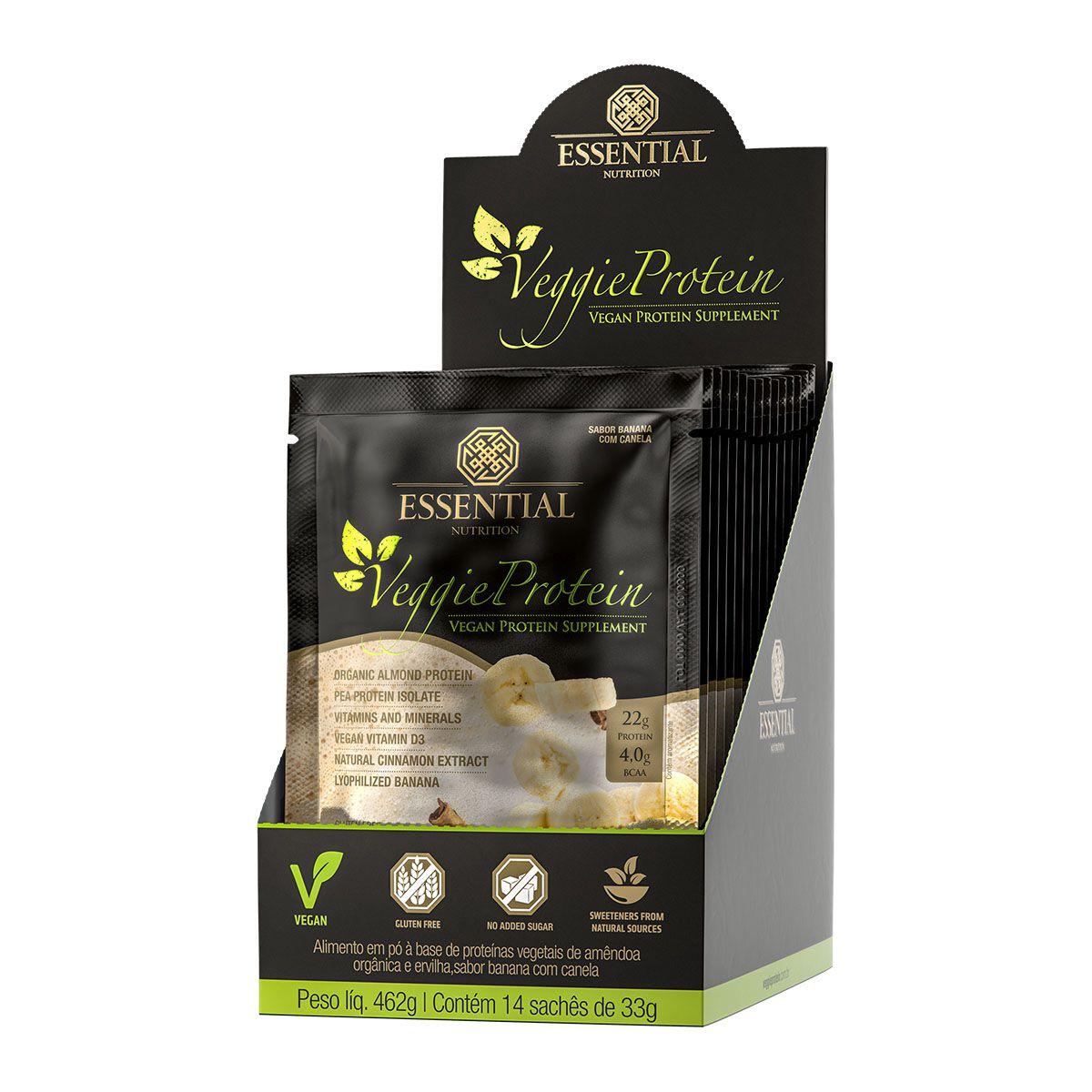 Veggie Protein Banana com Canela 14 sachês - Essential Nutrition