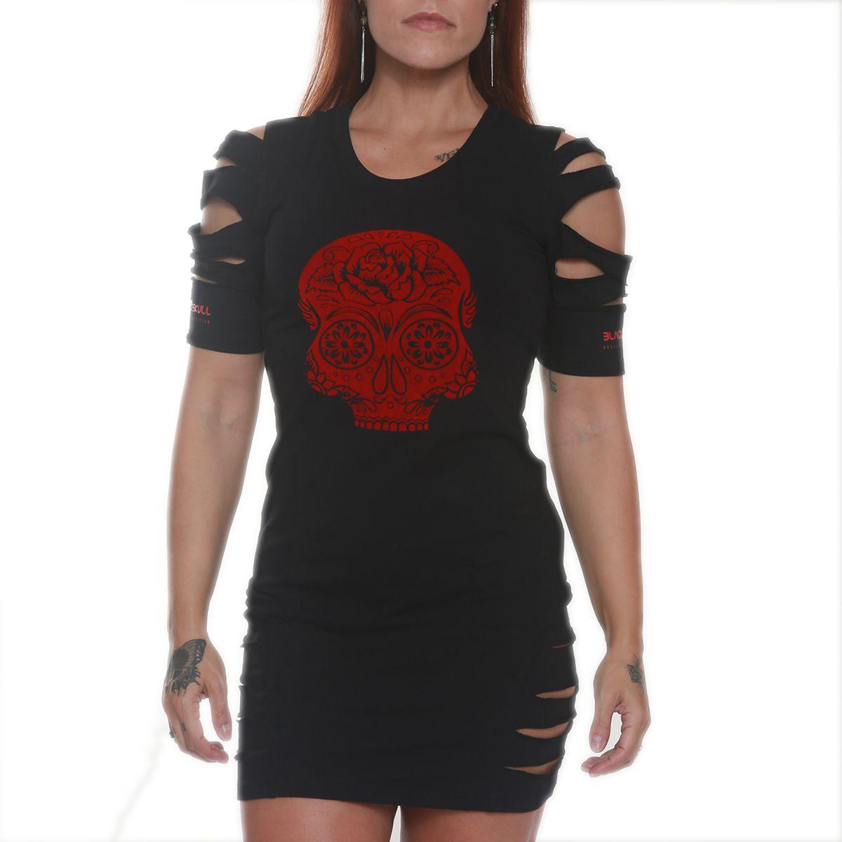 Vestido Rasgado Preto - Black Skull