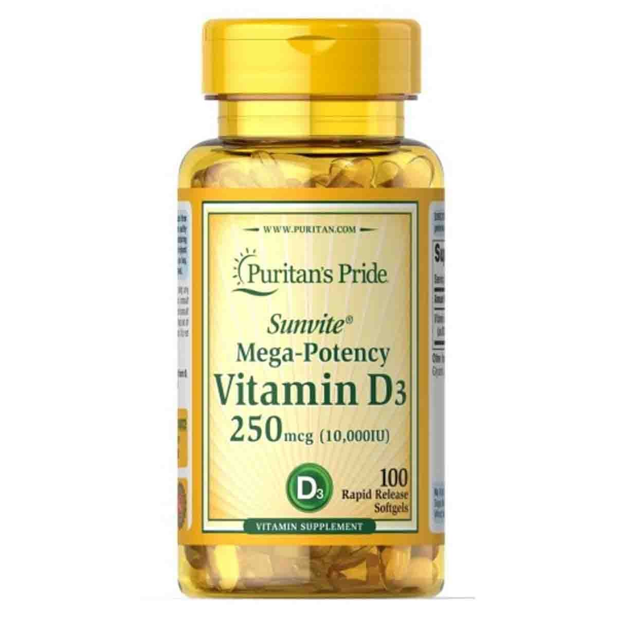 Vitamin D3 10000 UI 100 Softgels - Puritan's Pride