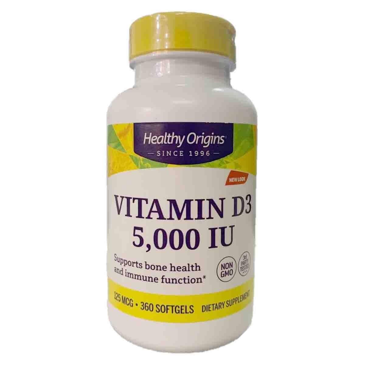 Vitamin D3 5000 UI 360 Softgels - Healthy Origins
