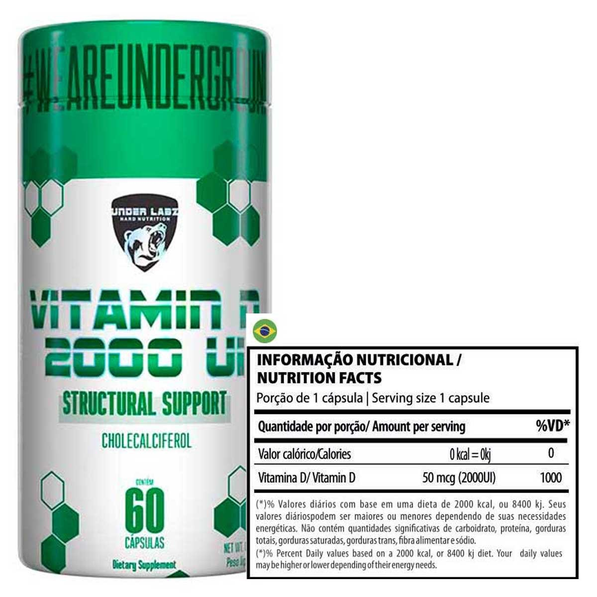 Vitamin D 2000UI 60 cápsulas - Under Labz
