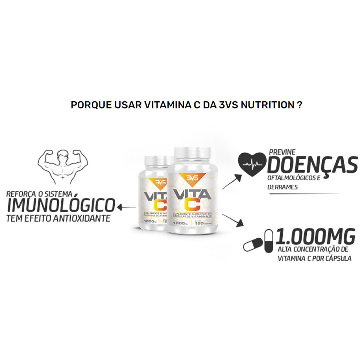 Vitamina C 1000mg 120 Cápsulas - 3VS Nutririon