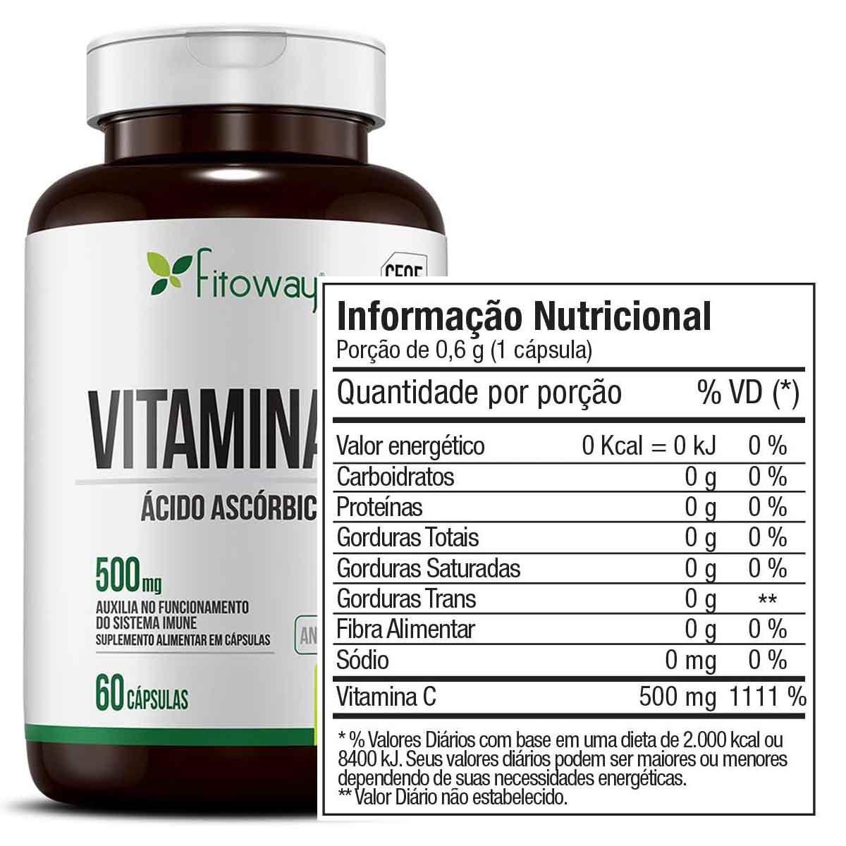 Vitamina C 500mg 60 Cápsulas - Fitoway