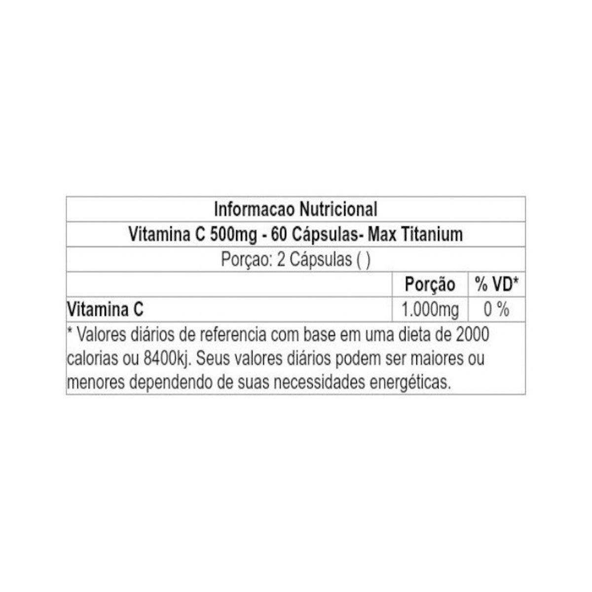 Vitamina C 500mg 60 Cápsulas- Max Titanium