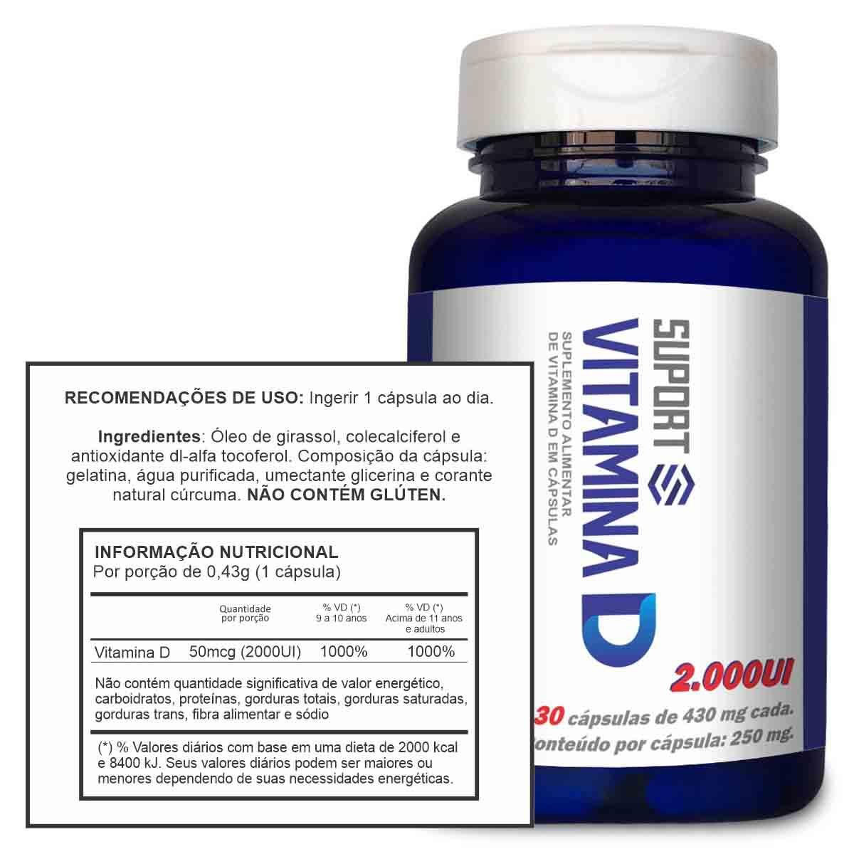 Vitamina D 2000Ui 30 cápsulas - Suport