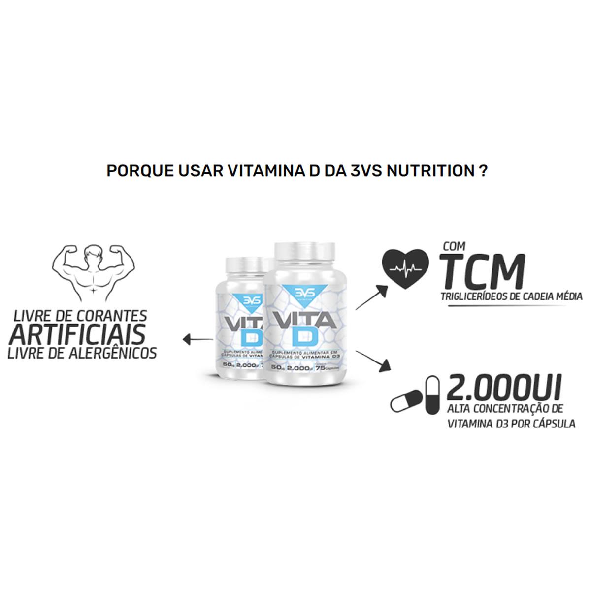 Vitamina D 75 Cápsulas - 3VS Nutrition